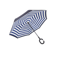 Умный зонт (зонт наоборот) с обратным открыванием Синяя полоска
