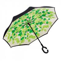 Умный зонт (зонт наоборот) с обратным открыванием Зелёные листья