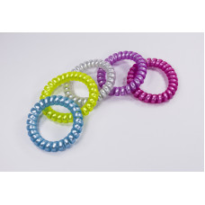 Комплект резинок-пружинок для волос, 5шт, голубая, сиреневая, желтая, розовая, белая