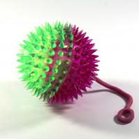Игрушка-антистресс мяч на резинке с пищалкой и подсветкой, 75 мм