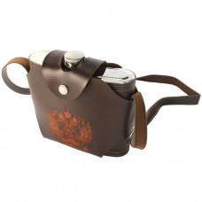 Фляжка кожзам в кобуре с гербом РФ 32 oz (960мл) (коричневый)