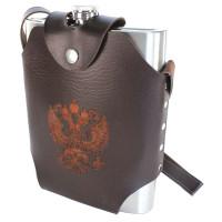 Фляжка нержавейка в кобуре с гербом РФ 48 oz (1,44л) (коричневый)