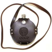 Фляжка из нержавейки круглая 8 oz (240мл) в кобуре с ремнём