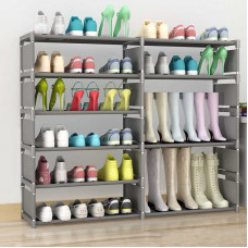 Подставка для обуви двойная 10 полок, складная, серая