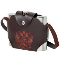 Фляжка нержавейка в кобуре с гербом РФ 32 oz (960мл) (коричневый)