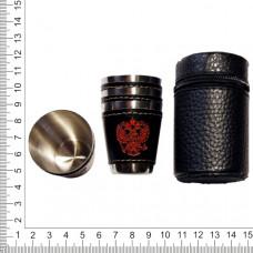 Набор стопок из нержавейки в чехле 4 шт (30 мл)